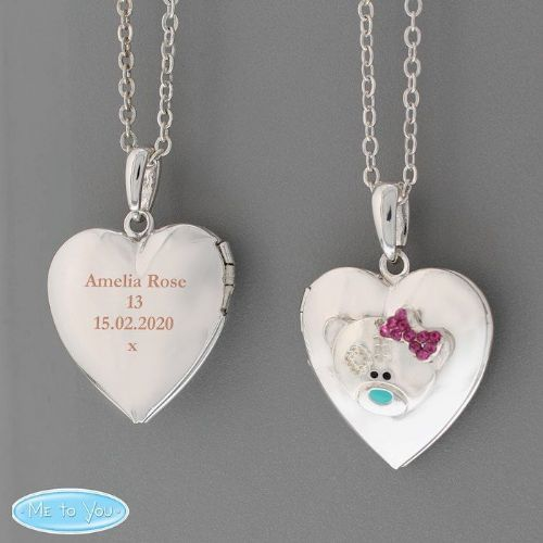 Message 'Me To You' Silver Tone Heart Locket